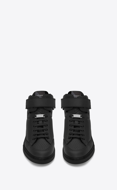 SAINT LAURENT High top sneakers U Max Scratch Mid Top Sneaker in Black Leather b_V4