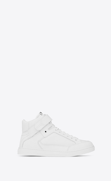 SAINT LAURENT High top sneakers Man Max Scratch Mid Top Sneaker in Optic White Leather a_V4