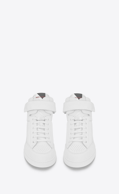 SAINT LAURENT High top sneakers U Max Scratch Mid Top Sneaker in Optic White Leather b_V4