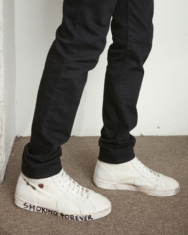 SAINT LAURENT High top sneakers Man joe Mid Top Sneaker in Used White Canvas and Ivory Suede y_V4