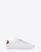 SAINT LAURENT Low Sneakers U Signature COURT CLASSIC SL/01 LIPS Sneaker in Optic White Leather and Red and Blue Metallic Snakeskin f