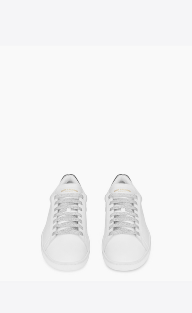 SAINT LAURENT Low Sneakers U Signature COURT CLASSIC SL/01 LIPS Sneaker in Optic White Leather and Red and Blue Metallic Snakeskin b_V4