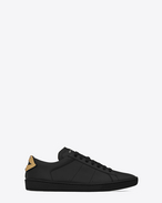 SAINT LAURENT Low Sneakers U Signature COURT CLASSIC SL/01 LIPS Sneaker in Black Leather and Dark Gold and Silver Metallic Snakeskin f