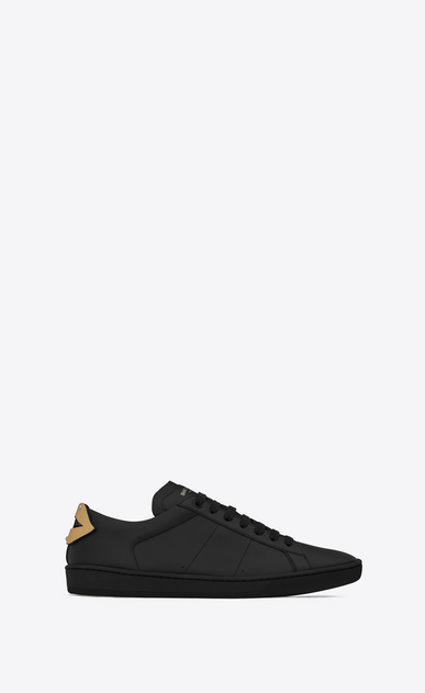 SAINT LAURENT Low Sneakers U Signature COURT CLASSIC SL/01 LIPS Sneaker in Black Leather and Dark Gold and Silver Metallic Snakeskin v4