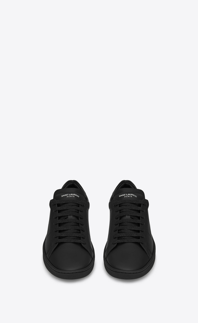 SAINT LAURENT Low Sneakers U Signature COURT CLASSIC SL/01 LIPS Sneaker in Black Leather and Dark Gold and Silver Metallic Snakeskin b_V4