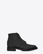 SAINT LAURENT Boots U WILLIAM 25 Embroidered Lace-up Wingtip Boot in Black Leather f