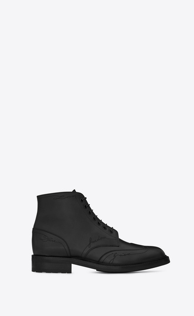 SAINT LAURENT Boots Man WILLIAM 25 Embroidered Lace-up Wingtip Boot in Black Leather a_V4