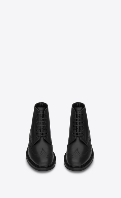 SAINT LAURENT Boots Man WILLIAM 25 Embroidered Lace-up Wingtip Boot in Black Leather b_V4