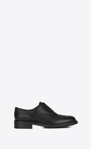 SAINT LAURENT Classic Shoes U WILLIAM 25 Embroidered Wingtip Derby Shoe in Black Leather a_V4