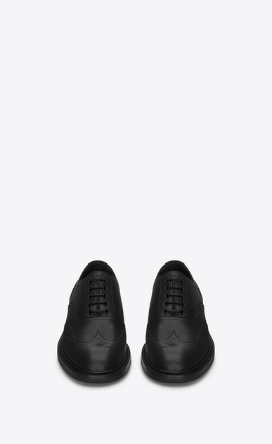 SAINT LAURENT Classic Shoes Man WILLIAM 25 Embroidered Wingtip Derby Shoe in Black Leather b_V4