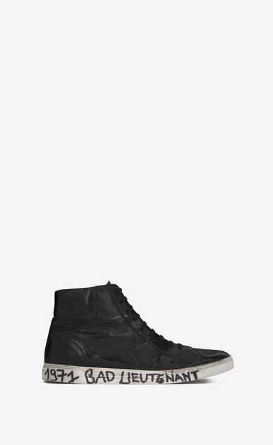 SAINT LAURENT High top sneakers Man joe Mid Top Sneaker in Black Worn Moroder Leather a_V4