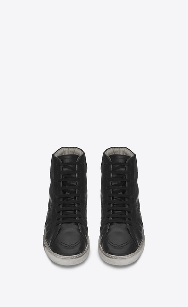 SAINT LAURENT High top sneakers Man joe Mid Top Sneaker in Black Worn Moroder Leather b_V4