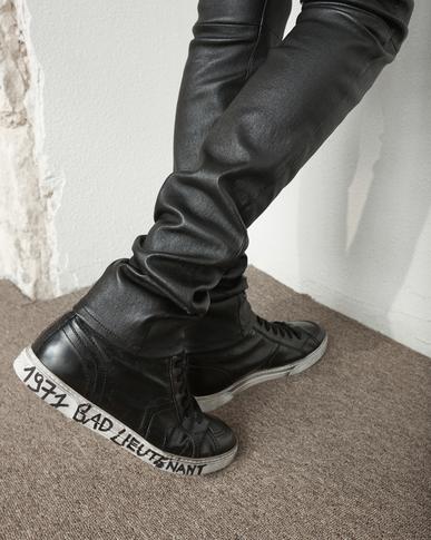 SAINT LAURENT High top sneakers Man joe Mid Top Sneaker in Black Worn Moroder Leather y_V4