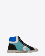 SAINT LAURENT High top sneakers U ANTIBE 05 Mid Top Sneaker in River Blue Nylon and Used White Suede f