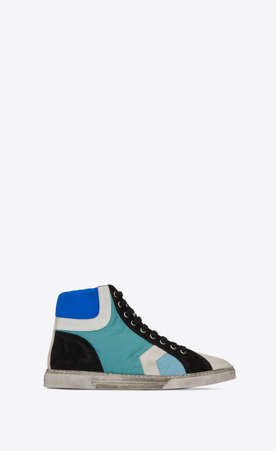 SAINT LAURENT High top sneakers U Joe Mid Top Sneaker in River Blue Nylon and Used White Suede a_V4