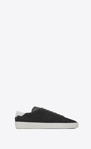 SAINT LAURENT SL/06 Man signature court sl/06 sneaker in graphite suede and optic white leather a_V4