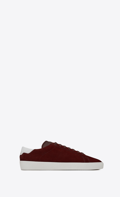 SAINT LAURENT SL/06 Man signature court sl/06 sneaker in light burgundy suede and optic white leather a_V4