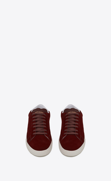 SAINT LAURENT SL/06 Man signature court sl/06 sneaker in light burgundy suede and optic white leather b_V4