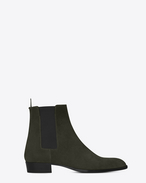 SAINT LAURENT Boots U WYATT 30 CHELSEA Boot in Army Green Suede f