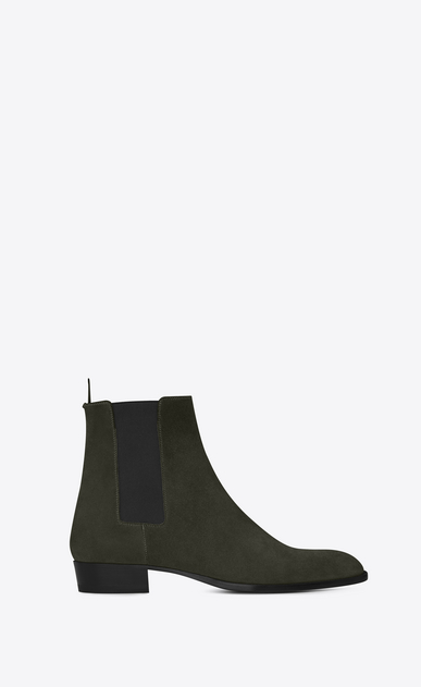 SAINT LAURENT Boots U WYATT 30 CHELSEA Boot in Army Green Suede a_V4