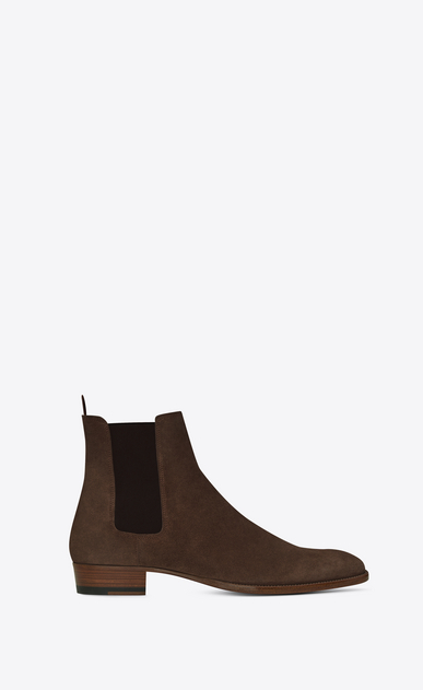 SAINT LAURENT Boots Man WYATT 30 Chelsea Boot in Brown Suede a_V4