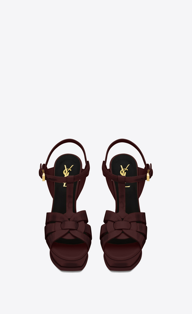 SAINT LAURENT Tribute Woman tribute sandal 105 in bordeaux patent leather b_V4