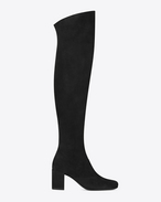 SAINT LAURENT ヒールブーティ D babies 70 over-the-knee boot in black suede f