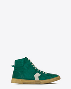 SAINT LAURENT High top sneakers U Sneaker mi-haute JOE en cuir vintage vert et blanc cassé f