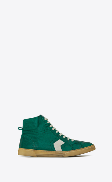 SAINT LAURENT High top sneakers U Sneaker mi-haute JOE en cuir vintage vert et blanc cassé a_V4