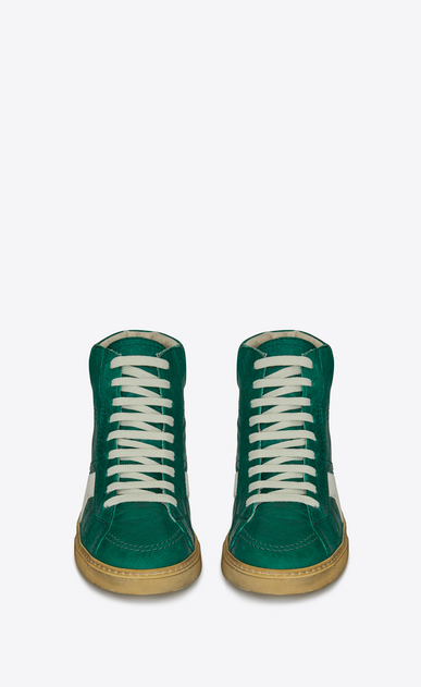 SAINT LAURENT High top sneakers Man Medium-high JOE sneakers in vintage green and off-white leather b_V4