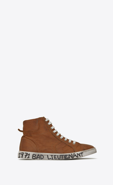 SAINT LAURENT High top sneakers Man Medium-high joe sneakers in cognac leather a_V4