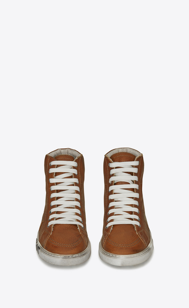 SAINT LAURENT High top sneakers Man Medium-high joe sneakers in cognac leather b_V4