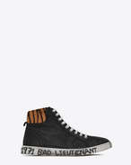 SAINT LAURENT High top sneakers U Medium-high joe sneakers in black leather and tiger-pattern pony hair f