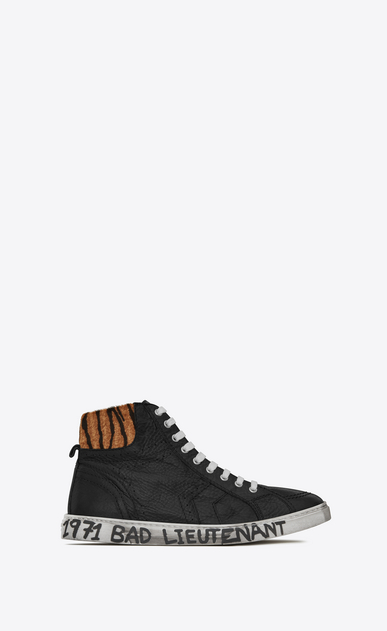 SAINT LAURENT High top sneakers Man Medium-high joe sneakers in black leather and tiger-pattern pony hair a_V4