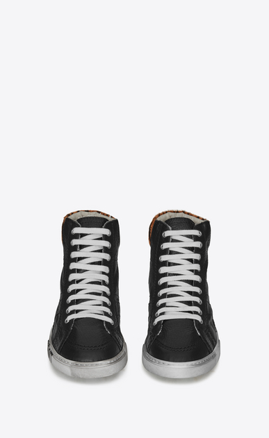 SAINT LAURENT High top sneakers Man Medium-high joe sneakers in black leather and tiger-pattern pony hair b_V4