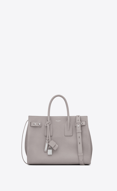 SAINT LAURENT Sac De Jour Supple D Small SAC DE JOUR SOUPLE bag in mouse-gray grained leather a_V4