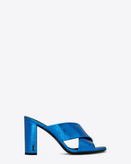 SAINT LAURENT Loulou D LOULOU 95 slide sandal with intertwining straps in blue metallic leather f