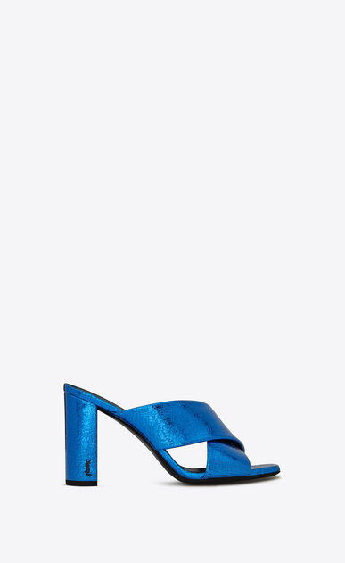 SAINT LAURENT Loulou D LOULOU 95 slide sandal with intertwining straps in blue metallic leather a_V4