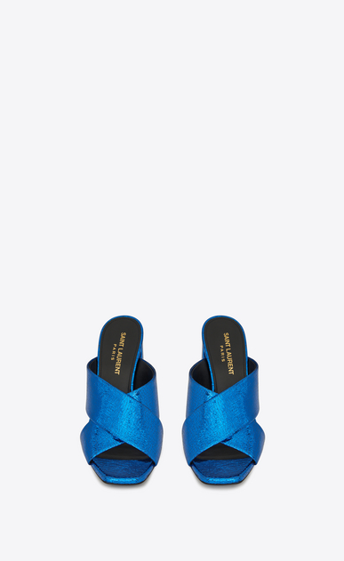 SAINT LAURENT Loulou D Sandale mule LOULOU 95 à lanières entrecroisées en cuir bleu métallisé b_V4