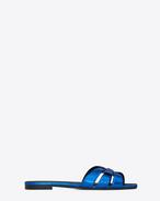 SAINT LAURENT Nu pieds D NU PIEDS 05 Riemchensandale aus metallic-blauem Leder f