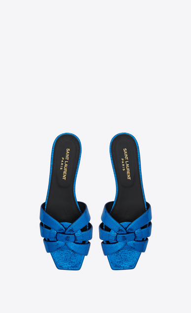 SAINT LAURENT Nu pieds D NU PIEDS 05 strappy sandal in blue metallic leather b_V4