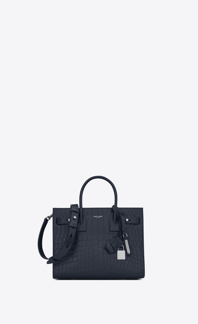 SAINT LAURENT Sac De Jour Supple D Baby SAC DE JOUR SOUPLE bag in crocodile embossed dark blue matte leather a_V4