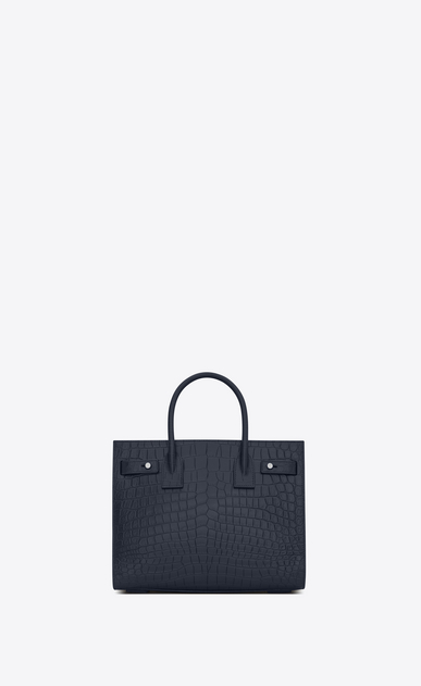 SAINT LAURENT Sac De Jour Supple D Baby SAC DE JOUR SOUPLE bag in crocodile embossed dark blue matte leather b_V4