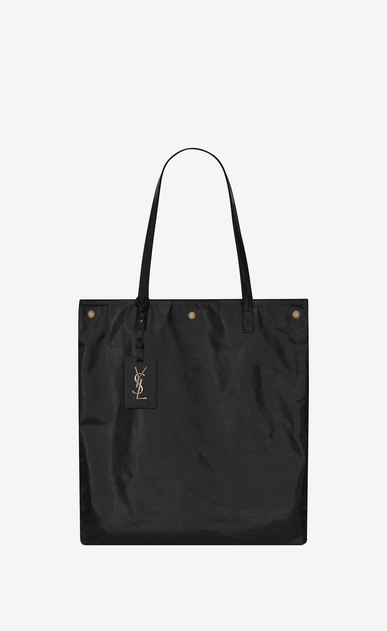SAINT LAURENT Noe D NOE SAINT LAURENT flat shopping bag in black moroder leather a_V4