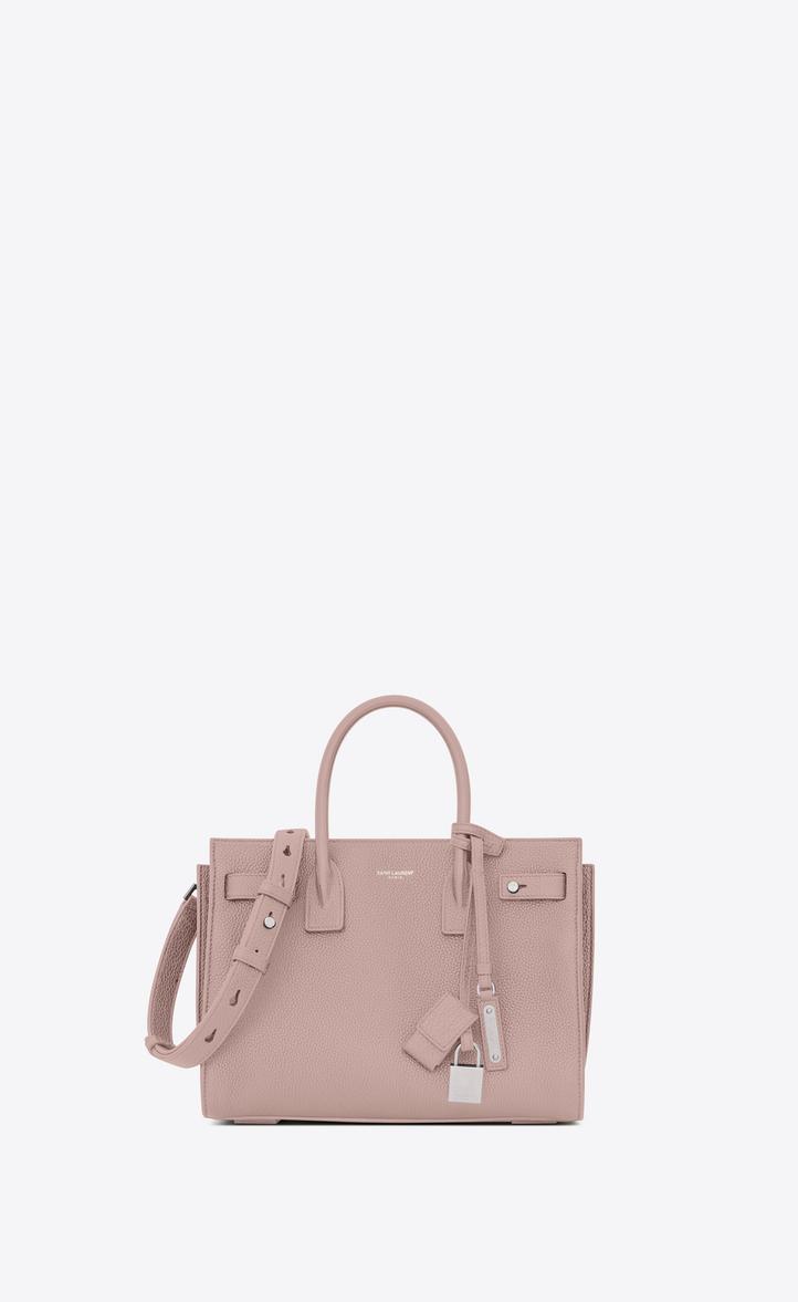 a40eb2b2bf50 Saint Laurent Baby SAC DE JOUR SOUPLE Bag In Powder Pink Grained ...