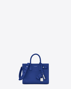 SAINT LAURENT Sac De Jour Supple D Nano SAC DE JOUR SOUPLE Bag blu royal in pelle martellata f
