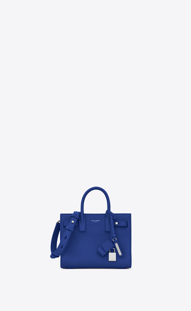 SAINT LAURENT Sac De Jour Supple D Nano SAC DE JOUR SOUPLE bag in royal blue grained leather a_V4
