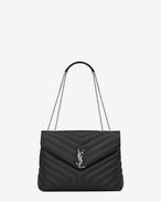 "SAINT LAURENT Monogramme Loulou D Bag Medium LOULOU con catena color grafite in pelle matelassé a ""Y"" f"