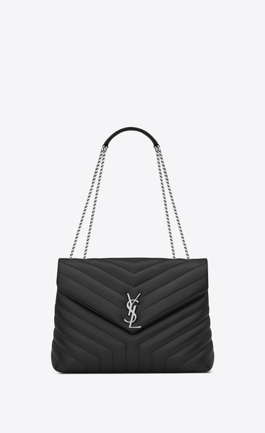 "SAINT LAURENT Monogramme Loulou Woman Medium LOULOU chain bag in graphite ""Y"" matelassé leather a_V4"
