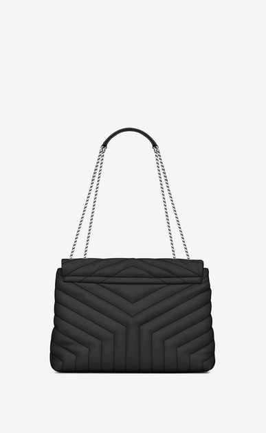 "SAINT LAURENT Monogramme Loulou Woman Medium LOULOU chain bag in graphite ""Y"" matelassé leather b_V4"